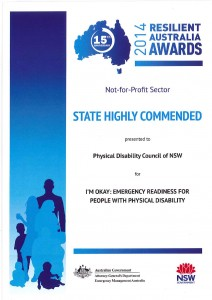 State Highly Commended Award in NationalCertificate - Resilient Australia Awards