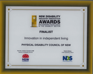 Certificate - NSW Disability Innovation Award Finalist 2012