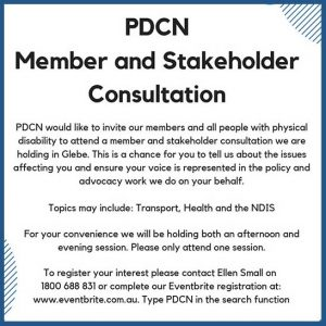 Banner advertising PDCN Member and Stakeholder Consultation on 30 August 2018, more information in post text