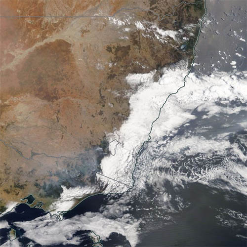 Satellite image of NSW from space, showing smoke from bushfires. taken 10 January 2020
