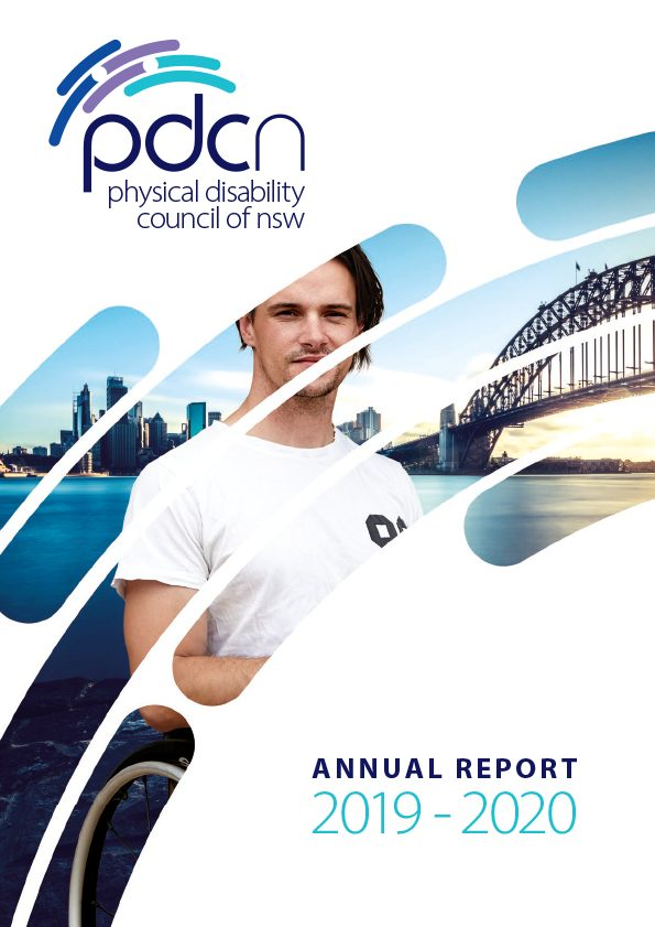PDCN Annual Report cover 2019-2020: an image of a young male wheelchair user in front of Harbour Bridge